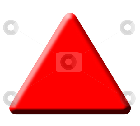 Red warning triangle stock photo, Red warning triangle isolated on white background. by Martin Crowdy