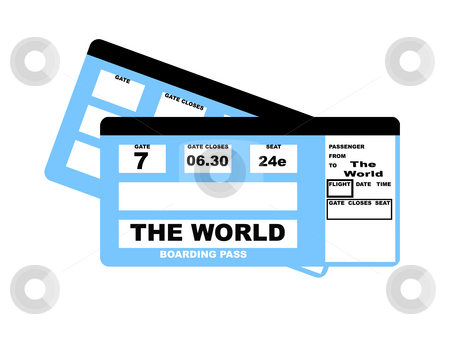 The World flight boarding pass stock photo, Boarding pass airline ticket to see the World, isolated on white background. by Martin Crowdy