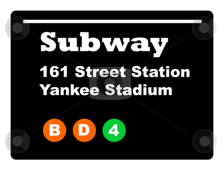 Yankee Stadium subway sign stock photo, Yankee Stadium subway train sign isolated on black background. by Martin Crowdy