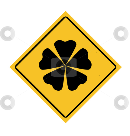 Lucky four leafy clover roadsign stock photo, Silhouette of lucky four leaf clover shamrock roadsign, isolated on white background. by Martin Crowdy
