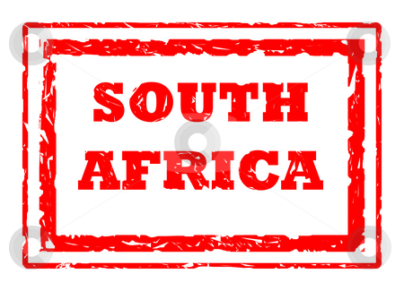 South Africa stamp stock photo, Used 2010 South Africa Football World Cup red stamp, isolated on white background. by Martin Crowdy