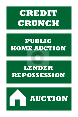 Home repossession signs stock photo, Credit crunch and home repossession signs isolated on white background. by Martin Crowdy