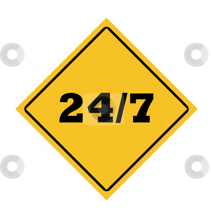 24/7 roadsign stock photo, 24/7 roadsign in yellow diamond isolated on white background. by Martin Crowdy