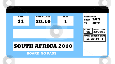 World Cup 2010 stock photo, South Africa soccer world cup 2010 boarding pass, isolated on white background. by Martin Crowdy