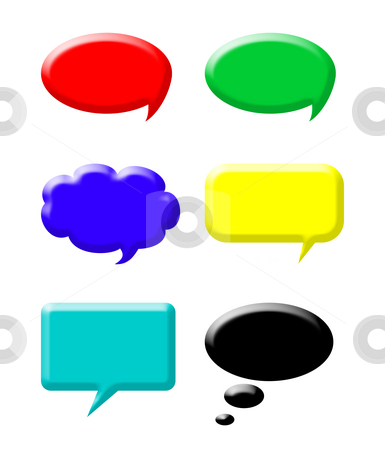 Colorful speech bubbles stock photo, Set of colorful speech bubbles isolated on white background. by Martin Crowdy