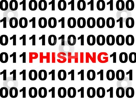 Phishing computer virus stock photo, Phishing computer virus masqueradiing among binary numbers. by Martin Crowdy