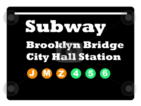 Brookly Bridge subway sign stock photo, Brookly Bridge City Hall Station subway train sign isolated on black background. by Martin Crowdy