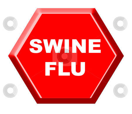 Swine flu warning sign stock photo, Red swine flu warning sign isolated on white background. by Martin Crowdy