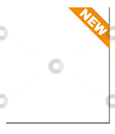 New orange corner ribbon stock photo, Orange new corner ribbon, isolated on white background. by Martin Crowdy