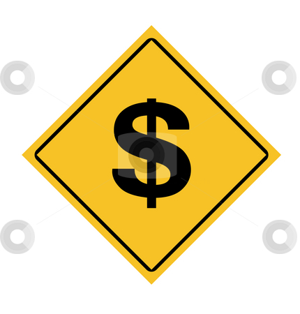 Dollars road sign stock photo, America dollar currency road sign isolated on white background. by Martin Crowdy