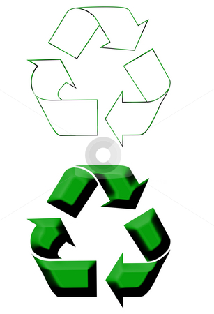 Recycling Symbols stock photo, Recycling symbols isolated on white background. by Martin Crowdy