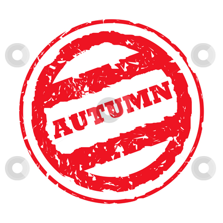Autumn Stamp stock photo, Used red Autumn holiday passport stamp, isolated, on white background. by Martin Crowdy