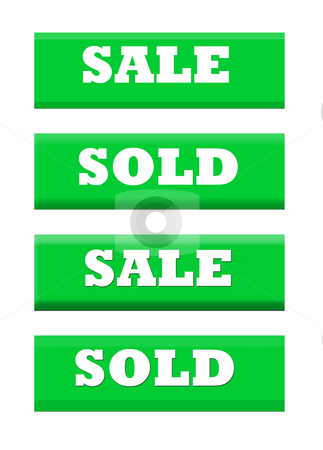 Sale and sold green labels stock photo, Sale and sold green label banners isolated on white background. by Martin Crowdy