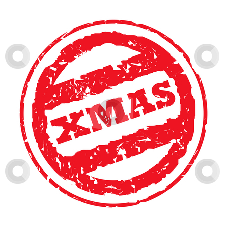 Christmas Stamp stock photo, Used red Christmas holiday passport stamp, isolated, on white background. by Martin Crowdy