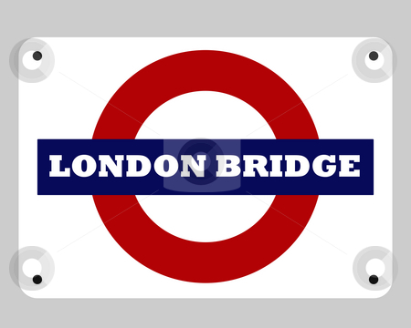 London Bridge Tube sign stock photo, London Bridge tube sign isolated on white background. by Martin Crowdy