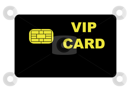 VIP Card stock photo, Black VIP card with biometric strip, isolated on white background. by Martin Crowdy