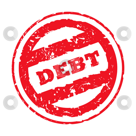 Red used debt stamp stock photo, Red used debt stamp, isolated on white background. by Martin Crowdy