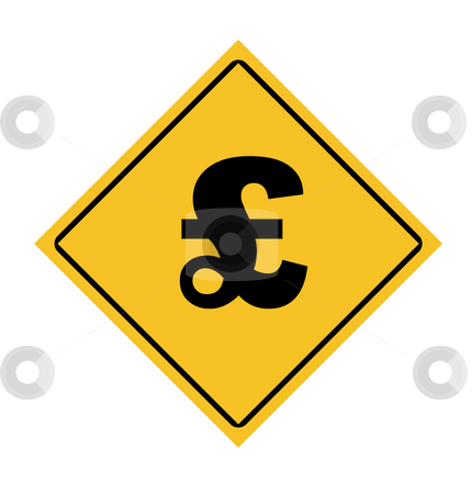 English pounds sterling road sign stock photo, English pounds sterling road sign isolated on white background. by Martin Crowdy