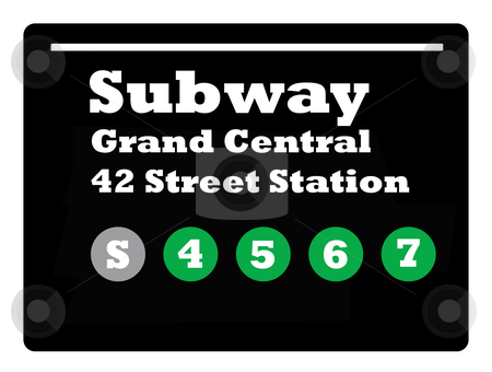 Times Square subway sign stock photo, New York Times Square subway train sign isolated on black background. by Martin Crowdy