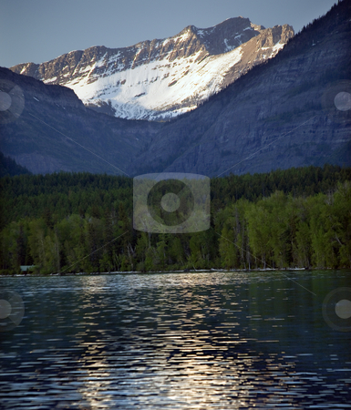 Lake McDonald Snow Mountain Glacier National Park stock photo, Lake McDonald Snow Mountains Reflection Glacier National Park by William Perry