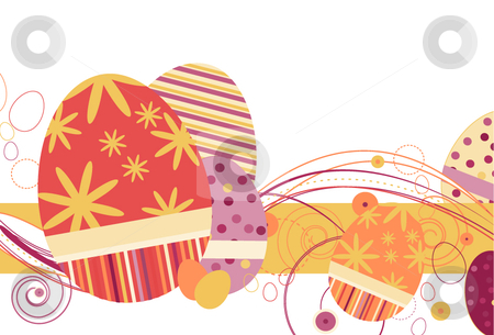 Easter Eggs in Orange Creme tones stock vector clipart, Easter Eggs in Orange Creme tones with abstract design on a white background by x7vector