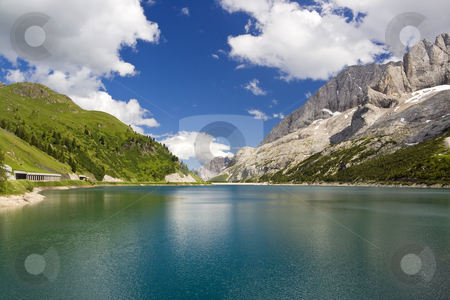 Fedaia lake stock photo, The artificial lake and pass of Fedaia (Dolomites, Trentino, Italy), at summer by ANTONIO SCARPI