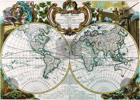 Double Hemisphere Map George Louis Le Rouge stock photo, Antique Maps of the World Double Hemisphere Map George Louis Le Rouge c 1744 by Old maps Digital pictures