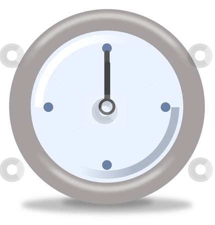 Clock Twelve stock photo, Silver and blue clock on white background showing twelve by Henrik Lehnerer
