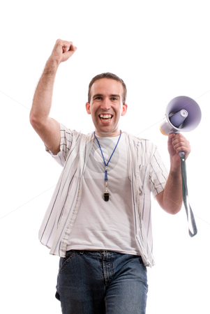 SCORE stock photo, A young fan is cheering because his team scored, isolated against a white background by Richard Nelson