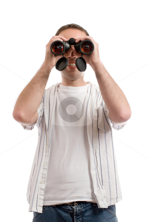 Man With Binoculars stock photo, A young man wearing casual clothing is holding a set of binoculars to his eyes, isolated against a white background by Richard Nelson