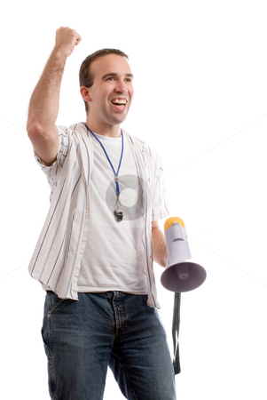 Sports Fan stock photo, A sports fan shaking his fist in the air and looking excited, isolated against a white background by Richard Nelson