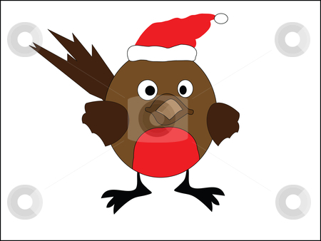 Robin redbreast stock vector clipart, An illustration of a christmas robin red breast by Stephen Clarke