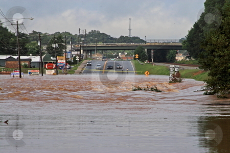 Flood Disaster stock photo, Rains flooding bankhead hwy Austell Ga by Jack Schiffer
