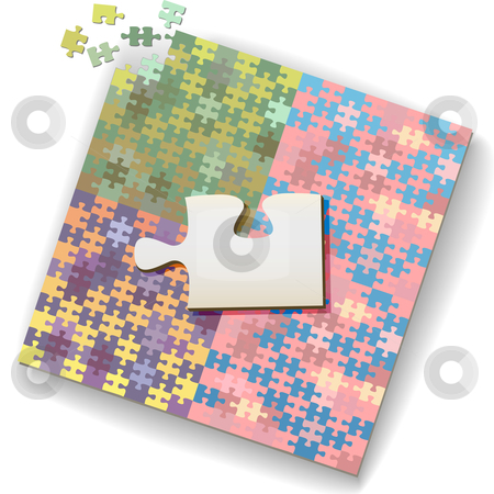 Big jigsaw piece on large puzzle of many shades stock vector clipart, Big jigsaw piece as copyscpace on a large unfinished puzzle of many shades. by Michael Brown