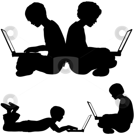 Irl and boy use laptops sitting or lying on the ground stock vector clipart, Boy and girl silhouettes as kids sitting or lying on the ground using laptop computers. by Michael Brown