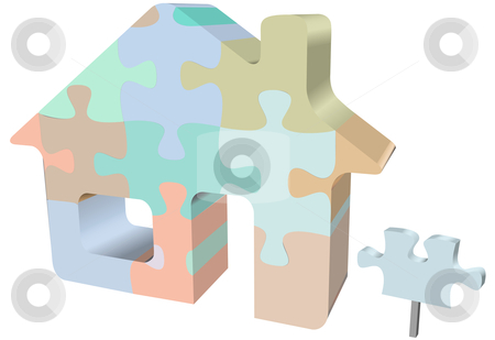House symbol home jigsaw puzzle with sign stock vector clipart, A colorful house jigsaw puzzle as a symbol of homes, real estate, construction problems and solutions. by Michael Brown