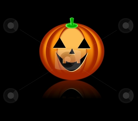 Halloween Pumkin BB stock photo, Smiling orange Halloween pumkin on black background by Henrik Lehnerer