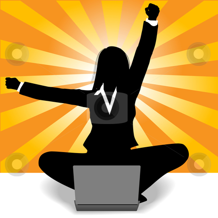Business woman celebration of laptop computer success stock vector clipart, Business woman sits at laptop computer and raises fist and arm to celebrate her success. by Michael Brown