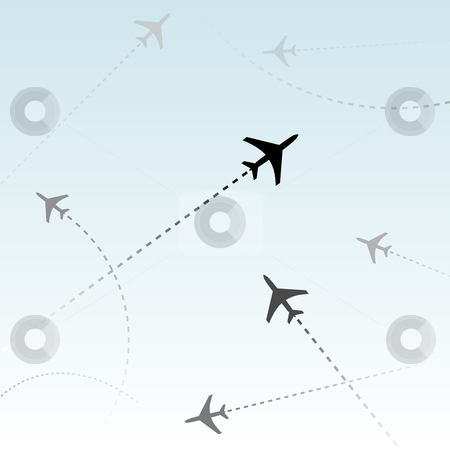 Commercial Airline Passenger Airplanes flights air traffic stock vector clipart, Air travel. Dotted lines are flight paths of commercial airline passenger jets flying in air traffic. by Michael Brown