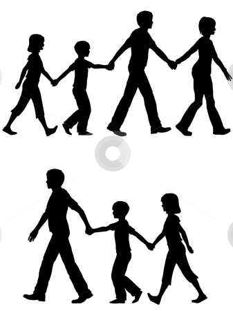 Casual family mom dad parents lead kids on walk stock vector clipart, On the Go a mom or dad leads family on walk shopping home or anywhere you want them to head. by Michael Brown