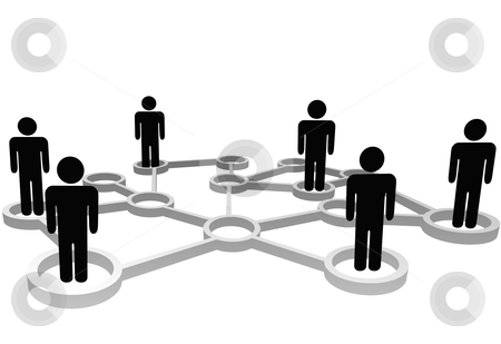 Connected people in nodes of business or social network stock vector clipart, Connected Symbol People associate in 3D Social or Business Community Network Nodes. by Michael Brown