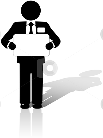 Business Man Holds blank copyspace sign stock vector clipart, A Business Man in a suit with a name tag holds a blank copyspace meeting sign. by Michael Brown