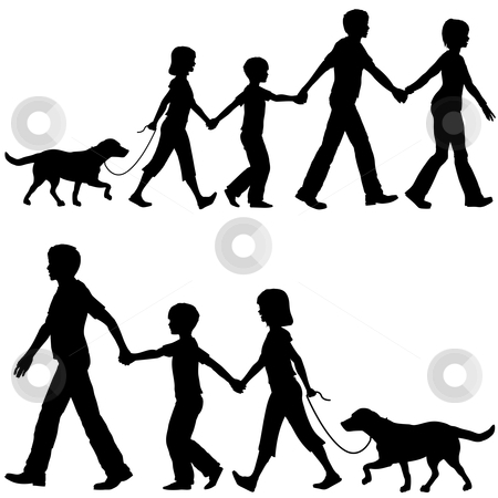 Casual family mom dad lead kids and dog on walk stock vector clipart, On the Go mom or dad leads family kids and dog on walk shopping home or wherever. by Michael Brown