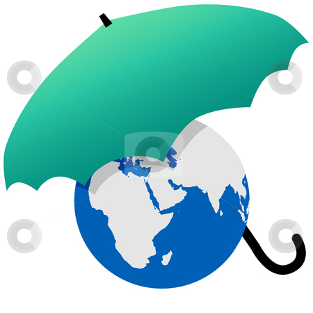 Earth protected by a green world umbrella stock vector clipart, Earth protected by a green umbrella symbol environmental threat and protection. by Michael Brown