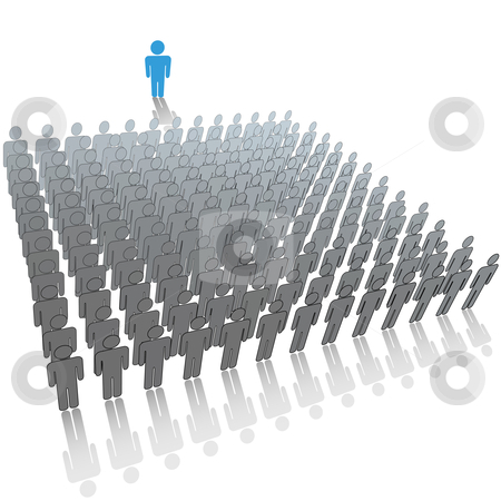 Leader speaker talks to large audience group of people stock vector clipart, Communication leader or speaker talks in front of a large audience group of people. by Michael Brown