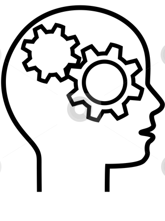 Profile of Gear Head Brain Thinker Outline stock vector clipart, A industrious machine minded Gear Head Thinker in profile, an inventor or innovator or problem solver. by Michael Brown