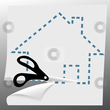 Scissors cut out a house symbol on dotted line stock vector clipart, A pair of scissors cut out a house symbol on dotted lines. by Michael Brown