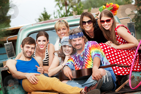 Groovy Group in the Back of Truck stock photo, Groovy Group in the Back of Truck Smiling by Scott Griessel