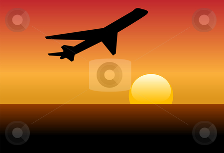 Airline jet silhouette takeoff into sunset or dawn stock vector clipart, An airline jet silhouette takes off and climbs into a sunset or dawn. by Michael Brown