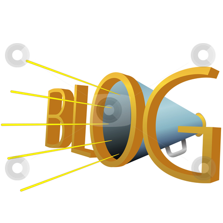 Big BLOG 3D Megaphone for high powered blogging stock vector clipart, A Big Blue BLOG 3D Megaphone for loud high powered blogging. by Michael Brown